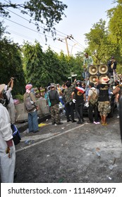Bangkok/Thailand - 12 02 2013: Protesters riot and take the Metropolitan Police House HQ.