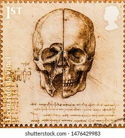 Bangkok-Thailand, 12 August 2019: A stamp of Leonardo da Vinci commemorative stamp 500 years of genius. Leonardo da Vinci is Italian. Stamps printed in England. Closeup Collection.
