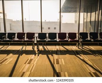 Bangkok/Thailand - 13 October 2018: Airport chair beside the window in the morning at don muang internation airport bangkok City Thailand
