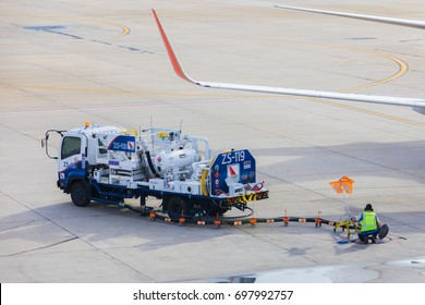 Bangkok-THAILAND, 14 AUG 2017: A  image of an aviation refueling truck (Jet A1) of BAFS - Bangkok Aviation Fuel Services as seen parked on the tarmac (apron) at DonMueang Airport (DMK) on a sunny day.