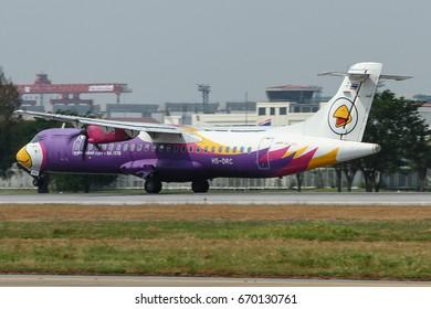 Bangkok-Thailand, 14 JAN 17: ATR72-500 of Nokair (a low-cost carrier based in Bangkok.) as seen taking off at Donmueang Airport. Aircraft registration, HS-DRC.