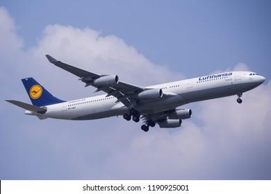 Bangkok-Thailand, 16 July 18: Airbus A340-300 of Lufthansa (a member of Star Alliance) as seen landing at Suvarnabhumi Airport. Aircraft registration, D-AIGU.