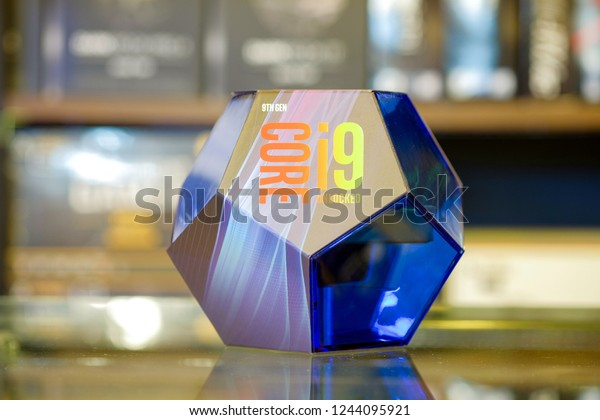 Bangkok-Thailand 17 NOV 2018: Intel Core i9-9900K UNLOCKED, a new processor is available from Intel Core i9 generation (Coffee Lake) and high performance for PC Desktop and work on socket LGA 1151