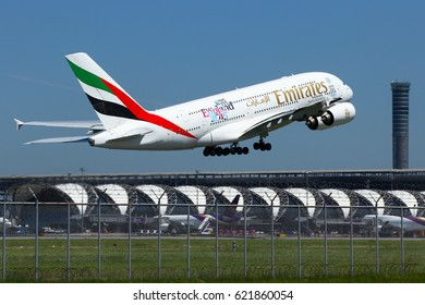 Bangkok-Thailand, 19 Aug 15: Airbus A380-800 of Emirates (registration: A6-EEE) as seen taking off from Suvarnabhumi airport. Destination, Dubai - UAE.