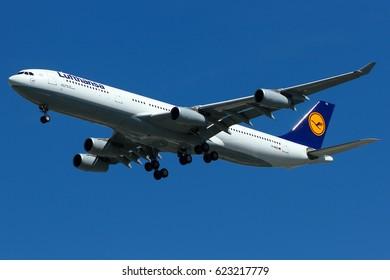 Bangkok-Thailand, 19 Aug 15: Airbus A340-300 of Lufthansa German Airlines (registration: D-AIGZ) as seen on final approach at Suvarnabhumi airport, Bangkok.