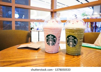 Bangkok,Thailand- 20 April 2019: Starbucks Green Matcha Azuki Frappucino on the table. Highlight of the month.