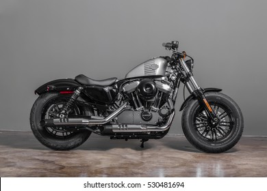 """Bangkok,Thailand - 2016 December 6 : Super bike """"Harley Davidson """"Forty-Eight"""". The first time the world saw this iconic 2.1-gallon gas tank was in 1948."""