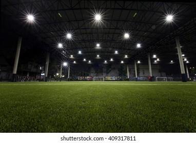 Bangkok,THAILAND, -21 APRIL 2016 : Night Time at Football field indoor of Thailand it stay in capital Bangkok,Thailand