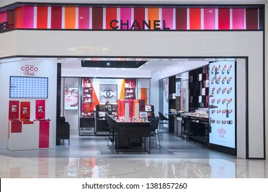 Bangkok-Thailand 22 APR 2019: In front and inside of CHANEL shop, CHANEL shop is a branding about makeup product, open at ICONSIAM shopping center on Bangkok, Thailand
