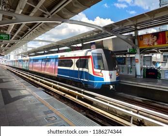 Bangkok,THAILAND - 22 September 2018: The BTS sky train is most popular transportation in Bangkok metropolis and modern in South East Asian.