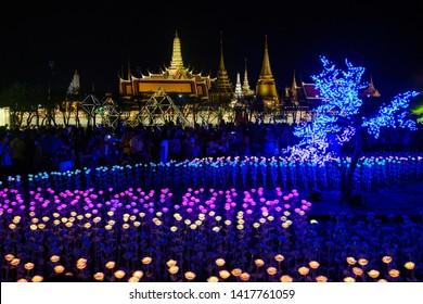 BANGKOK,THAILAND - 26 May 2019: Ligh up show at Sanam Luang to celebrate the coronation of King Rama X.
