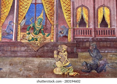 Bangkok-Thailand - 29 May 2015- A scene from Ramayana in Emerald Temple.