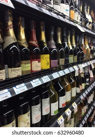 Bangkok,Thailand, 3 May 2017 Many wines on stand in supermarket.