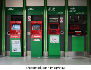 Bangkok,Thailand - 31March2021 - Kasikorn automated banking station - one stop customer smart self-service financial transaction (ATM , CDM, book update) , 24 hours urban convenient lifestyle