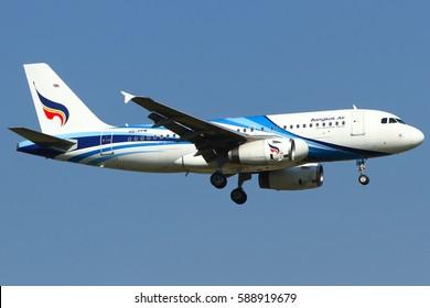Bangkok-Thailand, 5 April 15: An Airbus A319 of Bangkok Airways (registered as HS-PPM) as seen on a final approach phase at Suvarnabhumi Airport, Bangkok.