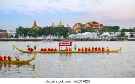 BANGKOK,THAILAND- 6 JANUARY 2017 :Decorated barge parades past the Grand Palace at the Chao Phraya River during Fry the Kathina ceremony cloth of Royal Barge Procession on  in Bangkok,Thailand