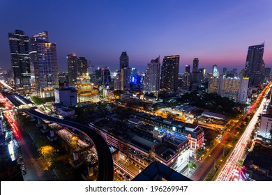Bangkok,Thailand - 8 February 2014: Aerial view of modern buildings in Silom district at night on February 08, 2014 in Bangkok, Thailand. Silom is the famous business area in Thailand.