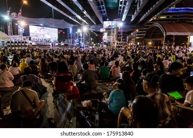 Bangkok,Thailand - 8 February 2014: Stage of People's Democratic Reform Committee (PDRC) against the government corruption at Silom road in Bangkok,Thailand.
