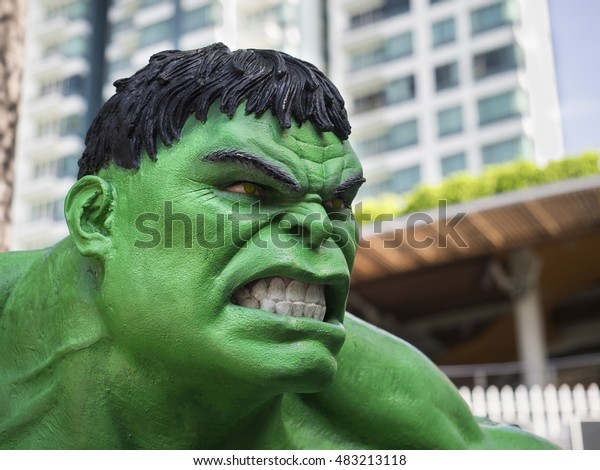 BANGKOK,THAILAND- 8 September, 2016: The Hulk model standing in angry action at Major Cineplex to promote The Avengers film.