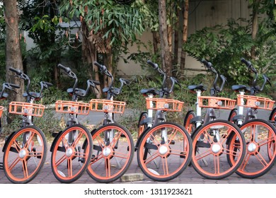 Bangkok/Thailand - 9 February, 2019 : Bikes parking in a MOBIKE station-less dock-less bicycle sharing system for biker in Bangkok city.