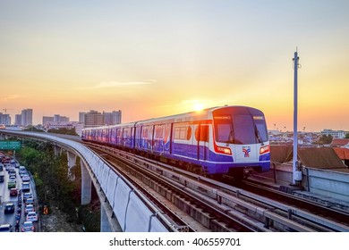 Bangkok-Thailand Apr 4 2016: BTS Sky train mass transit system in Bangkok to help facilitate and speed the journey. With the traffic jams in the evening after work