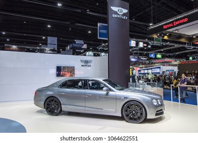 BANGKOK,THAILAND - APRIL 07, 2018:  NEW BENTLEY Flying Spur luxury car showcased at Bangkok Motor Show 2018