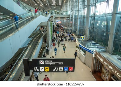 Bangkok,Thailand - April 13,2018 : The passengers in blur motion arriving at meeting point arrival terminal of Suvarnabhumi international airport,Bangkok,Thailand.