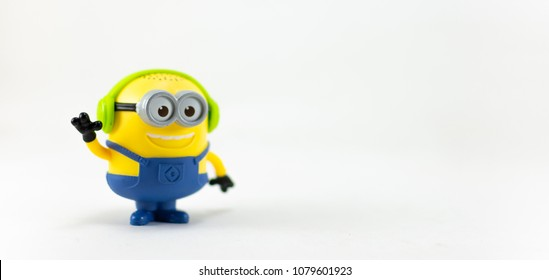 Bangkok,Thailand - April, 2018: Minions toy on white background from Minions 2018 film produced by Universal Pictures, toy collection in marketing campaign from Tesco Lotus Express.