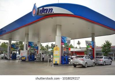 Bangkok,Thailand - April ,2018 : PTT gas station very modern at prannok street ,Bangkok,Thailand