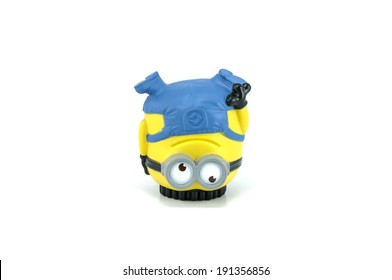 Bangkok,Thailand - April 22, 2014: Minion Jerry Breakdancing  figure Toy. There are plastic toy sold as part of the McDonald's Happy meals.