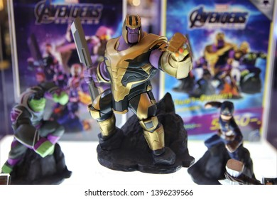 Bangkok/Thailand - April 25th, 2019. Thanos full armor suit toy action figure show with selective focus for promote Avengers endgame movie at department store