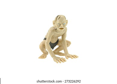 Bangkok,Thailand - April 26, 2015: Gollum isolated on white action figure toy a fictional character from The Hobbit and The Lord of the Rings.