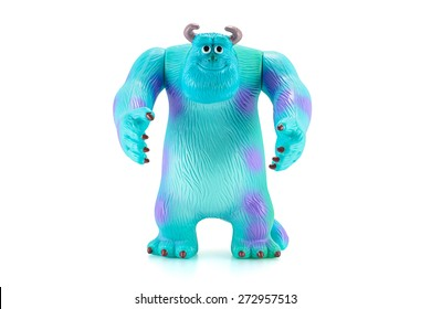 Bangkok,Thailand - April 26, 2015: James P. Sullivan Sulley figure toy character from Monsters inc movie by Disney Pixar. There are plastic toy sold as part of the McDonald's Happy meals.