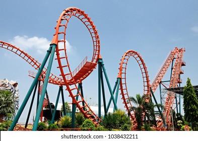 Bangkok,THAILAND -  April 29: 2012.roller coaster at Siam Park City fun park.