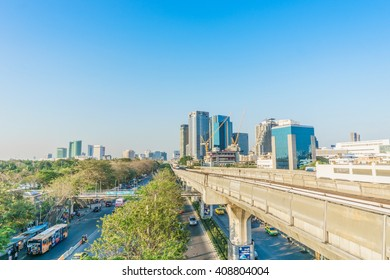 Bangkok,Thailand - April 4,2016: BTS Skytrain at a station in the city centre as the rail network.