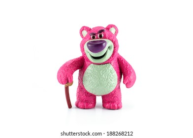 Bangkok,THAILAND - April 9, 2014: Lotso is a purple teddy bear with a big plum nouse character figure toy from toy story movie.