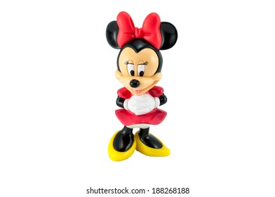 Bangkok,THAILAND - April 9, 2014: Minnie mouse from Disney character. plastic toy sold as part of the McDonald's Happy meal.