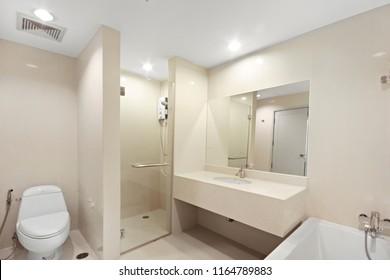 Bangkok/Thailand - Aug 10 2018: White bathroom in modern condominium