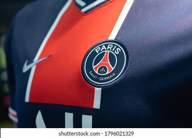 BANGKOK,THAILAND -AUGUST 15: Close-Up on Logo of PSG Paris Saint Germainfootball club on an official 2020 jerseys on August 15,2020
