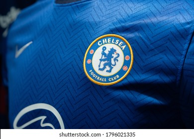 BANGKOK,THAILAND -AUGUST 15: Close-Up on Logo of Chelsea football club on an official 2020 jerseys on August 15,2020