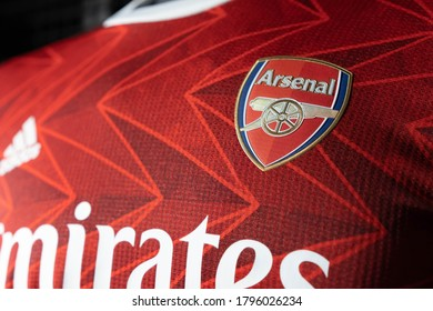 BANGKOK,THAILAND -AUGUST 15: Close-Up on Logo of  Arsenal Football Club on an official 2020 jerseys on August 15,2020