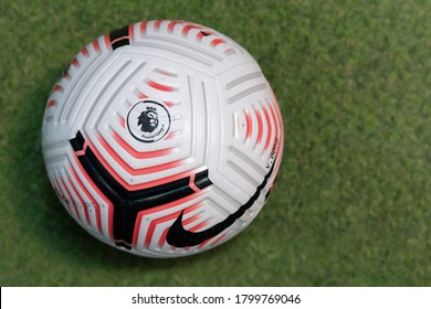 BANGKOK,THAILAND -AUGUST 15: Close-Up on Nike Flight The Official English Premier League Match 20/21  Ball on the Artificial Grass on August 15,2020