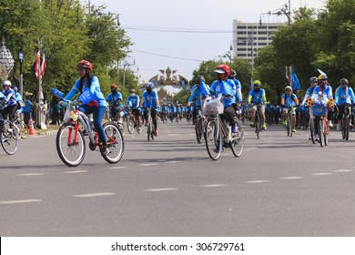 """BANGKOK,THAILAND, AUGUST 16 : Unidentified Cyclist in event """"Bike for mom"""" Bike for mom event show respected to Queen of Thailand by the participant cycling a bicycle, on August 16, 2015, Thailand."""