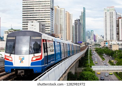 Bangkok/Thailand - August 20, 2017: BTS Skytrain approaching station
