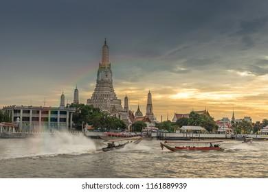 Bangkok,Thailand - August 22,2018:  Wat Arun Temple at twilight  in Bangkok, Thailand.