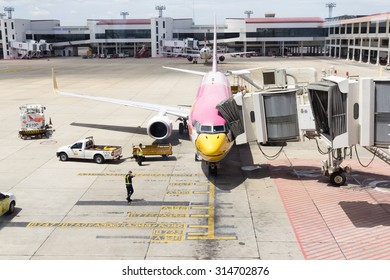 BANGKOK,THAILAND - AUGUST 24,2015 : Don Mueang International Airport on August 24,2015 in Thailand.Nok Air airline serviced in Don Mueang International Airport Bangkok, Thailand