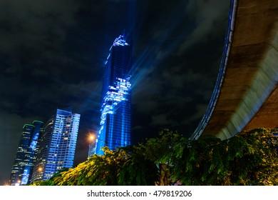 Bangkok,Thailand - August 29 , 2016 : Lighting show in Grand opening  Mahanakhon tower in night time. New highest building landmark in Thailand