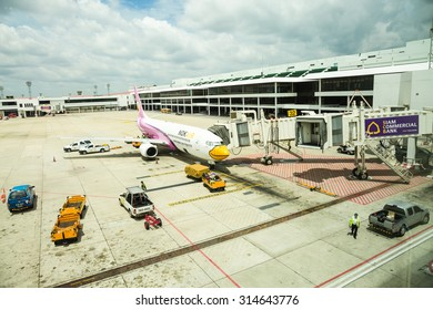 BANGKOK,THAILAND - AUGUST 29 : Don Mueang International Airport on August 29,2015 in Thailand.Noke Air airline and Air Asia airline are serviced in Don Mueang International Airport Bangkok, Thailand