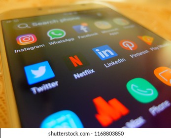 Bangkok,Thailand. August 30, 2018 - social media applications on smartphone screen. twitter, netflix, linkedin apps