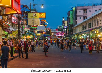 BANGKOK,THAILAND - August 5, 2018 : Khao San Road, famous tourist destination and popular tourist. August 5, 2018 BANGKOK,THAILAND